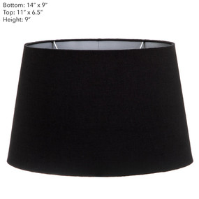 Lamp Shade - (14x9)x(11x9)x9 Black Linen With Silver Linen