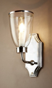 Wall Light Nickel with Glass Shade - WST