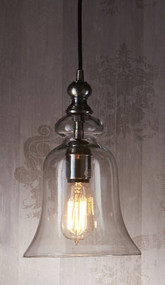 Glass Pendant Light In Silver - TVL