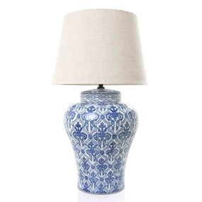 Ceramic Table Lamp - Blue and White - CHR
