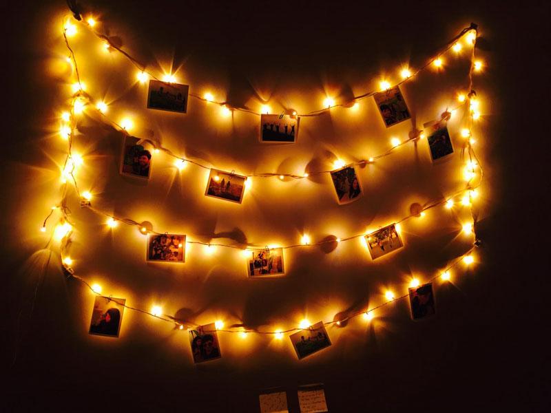 Lit hanging photo frames