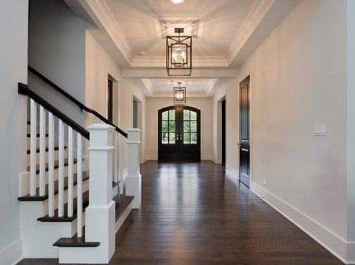 Entrance hall lighting with chandelier or a pendant light