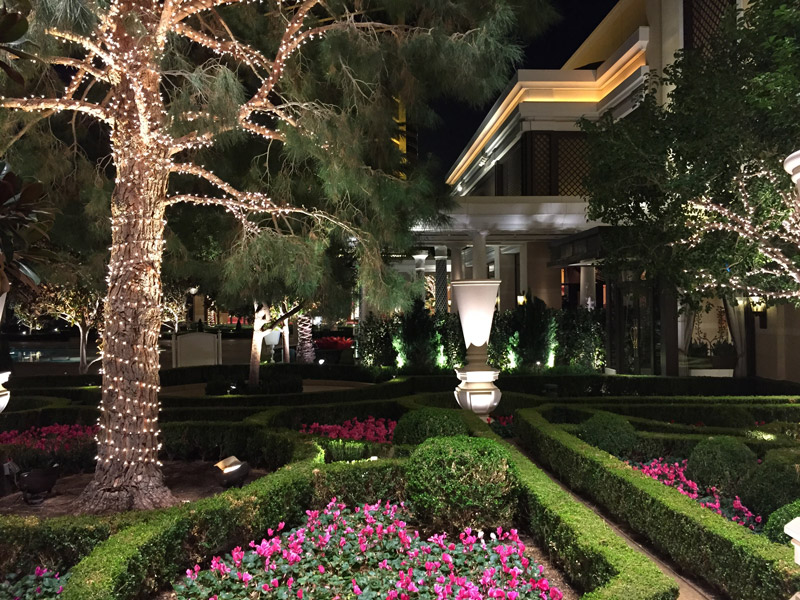 Garden ar night inside the Encore Hotel and Casino in Las Vegas Nevada