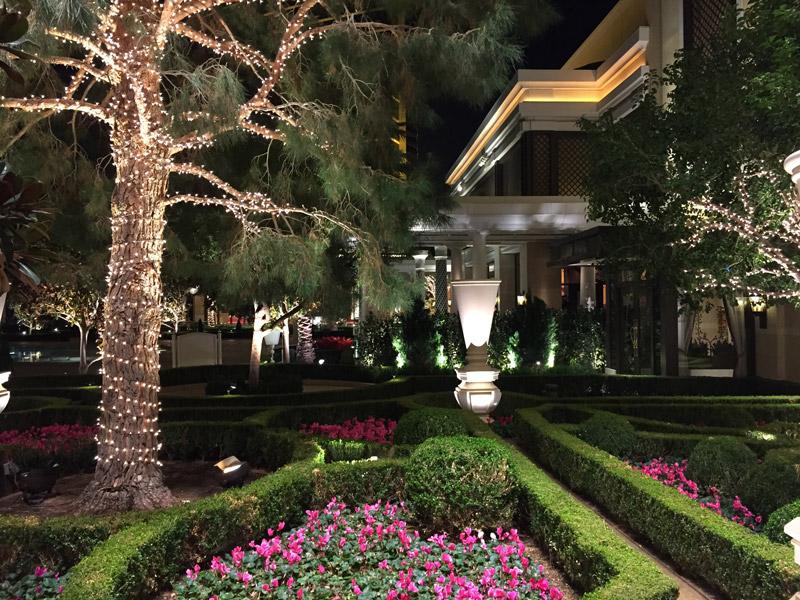 Garden ar night inside the Encore Hotel and Casino in Las Vegas Nevada