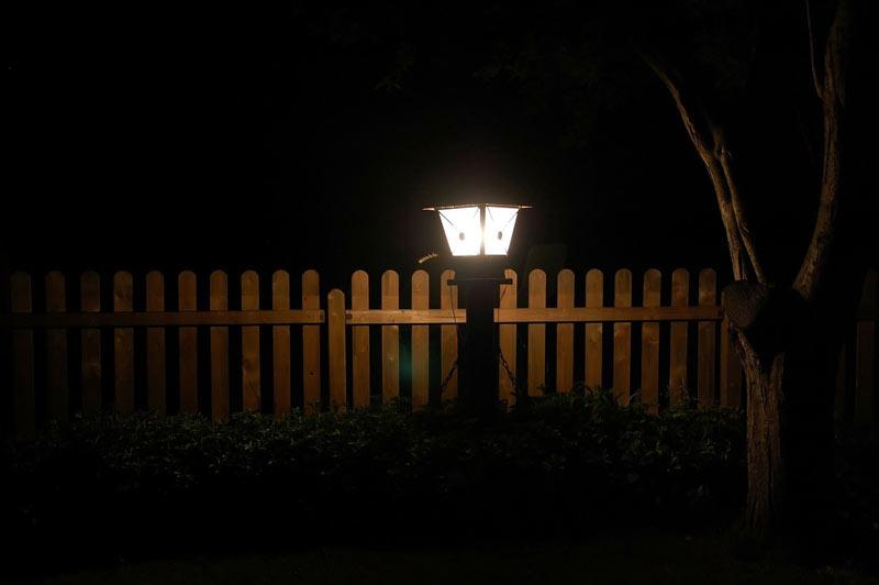 Garden at night Lantern fence
