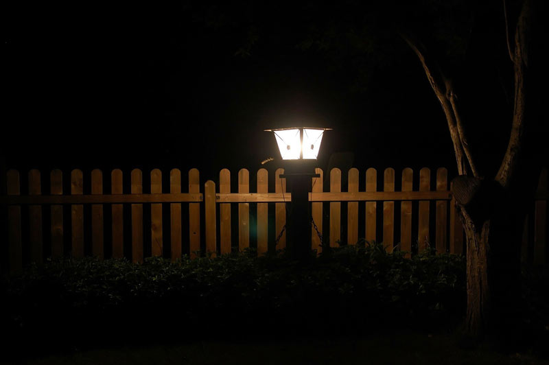 Garden at night Lantern fence