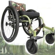 "Colours RAZORBLADE- ALL TERRAIN- Big Foot Sports Wheelchair  from side (IMPORTANT: Shown here with optional upgrades (Air-Ride System, Cross Knot Lace Spokes, Aggressive Knobby Tires and 8"" Air Casters with Monster Forks)"
