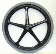 "24x1 3/8 (7/16"" Axle) Black 5 Spoke X-Core rear wheel w/ narrow hub (2.0"")"