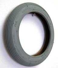 "Pair, 8x1 1/ 4"" Rib Grey Rubber Tire"
