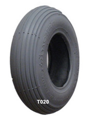 Pair, 8x2 Rib Grey Rubber Tire