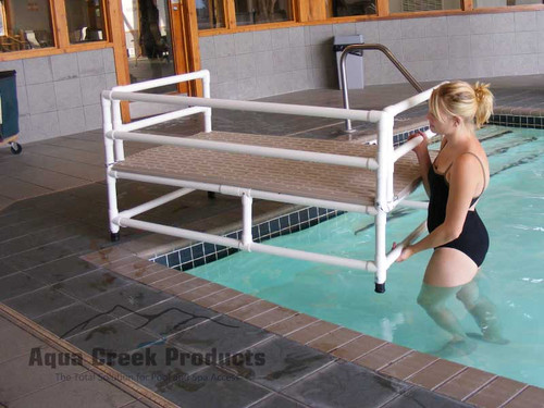 "Aqua Creek - Swim Training Platform, PVC, Non-Skid 36""X60"" Deck - F-250TTP outside water"