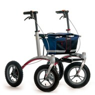 "Veloped Rollator Walker 12er- 12"" tires- Navy Blue/ Black/ Red"