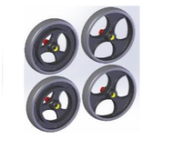 TOPRO Wheels TPE (for IBS) Comfort wheel Grip Complete set of 4 # 814650 - Walking Aid Parts
