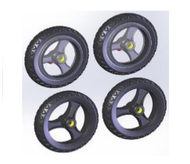 TOPRO Wheels Offroad IBS Complete wheel-set of 4 # 814649 - Walking Aid Parts
