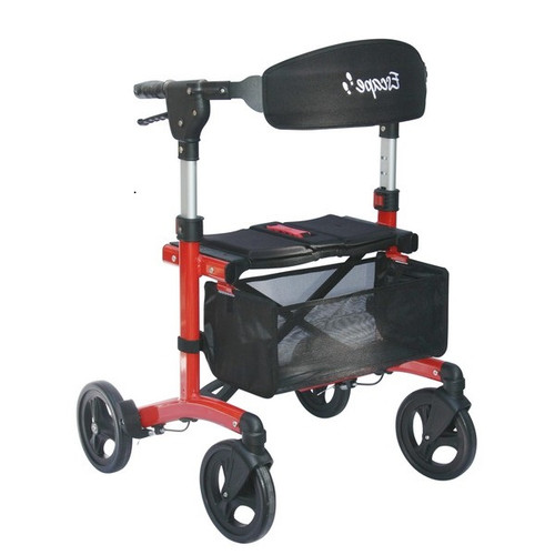 """Escape Rollator Charcoal -19"""", 21"""" and 24"""" seat height unfolded red"""