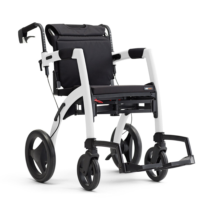 Rollz Motion2 - Rollator and Transport Chair in One - Matte Black - REGULAR