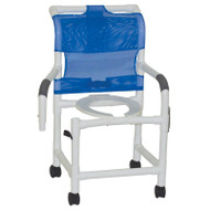 "Shower chair 18"" internal width- open front seat- 3"" twin casters- with double drop arm option 300 lbs weight capacity- # 118-3TW-DDA"