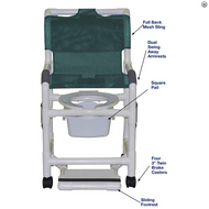 "MJM International - Shower chair 18"" internal width- open front seat- 3"" twin casters- with double drop arms- slide out footrest and 10 qt slide out square commode pail- 300 lbs weight capacity - # 118-3TW-DDA-SF-10-QT-C"