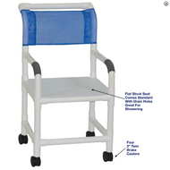 "MJM International - Shower chair 18"" internal width- 3""twin casters- flatstock seat w/ drain holes- 300 lbs weight capacity - # 118-3TW-F"