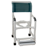 "Shower chair 18"" internal width- 3"" twin casters-  folding footrest- 300 lbs weight capacity  - # 118-3TW-FF"
