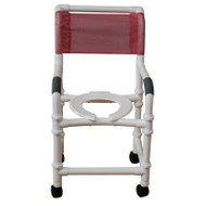 "NEW Knocked Down Shower chair- 18"" internal width- 3"" twin casters- open front seat- 300 lbs weight capacity - # 118-3TW-KD"