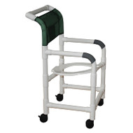"Shower chair 18"" internal width- open front seat- 3"" twin casters- seat tilted 2"" lower in back- 300 lbs weight capacity - # 118-3TW-TS"