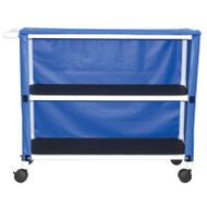 "2-shelf jumbo linen cart with mesh or solid vinyl cover- 5"" casters- shelf size: 20"" x 50""- 150 lbs per shelf - # 350-2C"