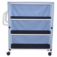 "3-shelf jumbo linen cart with mesh or solid vinyl cover- 5"" casters- shelf size: 20"" x 50""- 150 lbs per shelf - # 350-3C"