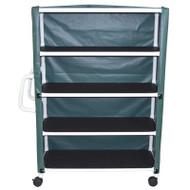 "`- 4-shelf jumbo linen cart with mesh or solid vinyl cover- 5"" casters- shelf size: 20"" x 50""- 150 lbs per shelf - # 350-4C"