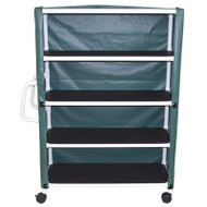 "MJM International - 4-shelf jumbo linen cart with open area shelf system- with mesh or solid vinyl cover- 5"" casters- shelf size: 20"" x 50""- 150 lbs per shelf - # 350T-4C"