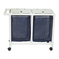 MJM International - NON-Magnetic Double hamper with mesh bags (25.71 gallon capacity per bag)- zipper opening- push / pull handle - # 218-D-MRI