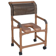 """Woodtone Wide shower chair 22"""" internal width- 3"""" twin casters- with deluxe elongated open front soft seat- 375 lbs weight capacity - # WT122-3TW-SSDE"""