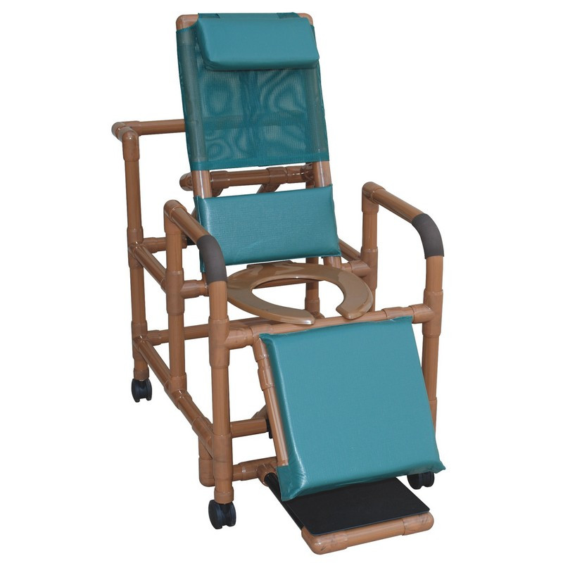 Cool Mjm International Woodtone Reclining Shower Chair With Deluxe Elongated Open Front Commode Seat Footrest Padded Elevated Leg Extension 325 Lbs Creativecarmelina Interior Chair Design Creativecarmelinacom