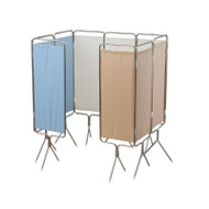 Winco - Privess™ Modular 4 Panel Aluminum Folding Screen with Standard White Vinyl # 3740 (Here shown with 9 panels for demonstration  only)