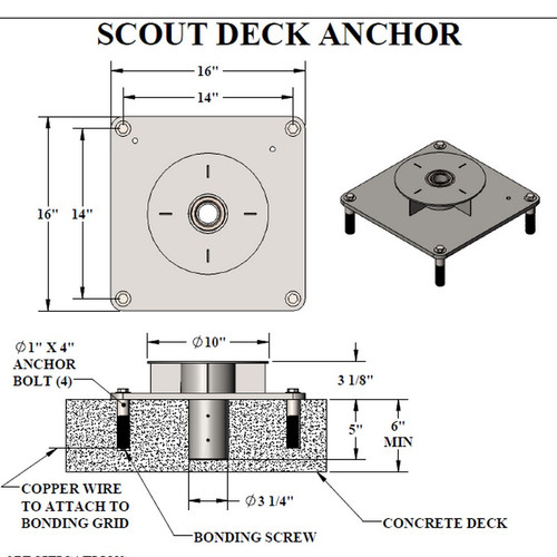 "Aqua Creek - Anchor for Scout Lift - Concrete Min 6"" thick - Semi-Recessed # F-77SSA - Drawing"