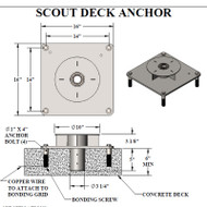 "Aqua Creek - Anchor for Scout Lift - Concrete Min 6"" thick - Semi-Recessed # F-77SSA - Drawing"