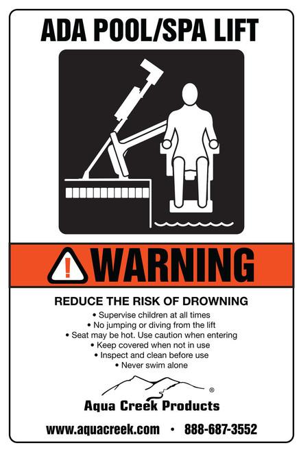 """Aqua Creek - Sign - """"ADA Lift Available"""" Aqua Creek Products # F-899S"""