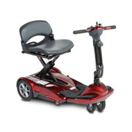 EV Rider - TranSport S19M Manual Fold Mobility Scooter w Lithium Battery - Burgundy Red