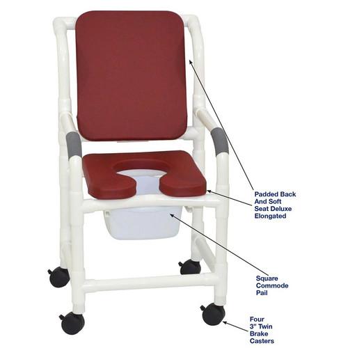 "MJM International - Shower Chair 18"" - # 118-3-SSDE-CBP-SQ-PAIL-BG"