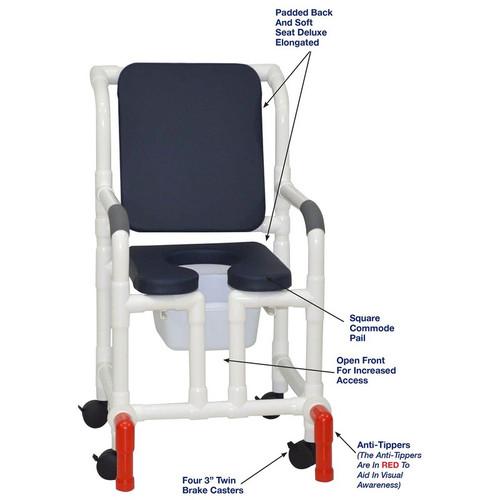"MJM International - Shower Chair 18"" - # 118-3-SSDE-CBP-AB-OF-SQ-PAIL-AT"