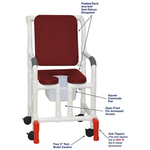 "MJM International - Shower Chair 18"" - # 118-3-SSDE-CBP-BG-OF-SQ-PAIL-AT"