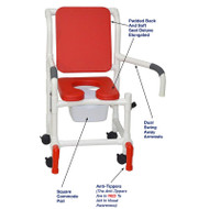 "MJM International - Shower Chair 18"" - # 118-3-SSDE-CBP-RD-DDA-SQ-PAIL-AT"