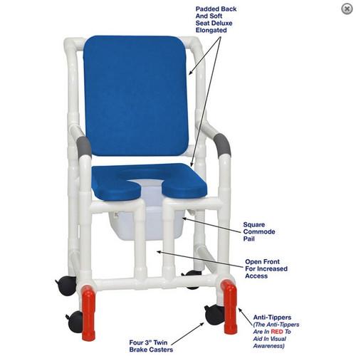 "MJM International - Shower Chair 18"" - # 118-3-SSDE-CBP-BL-OF-SQ-PAIL-AT"