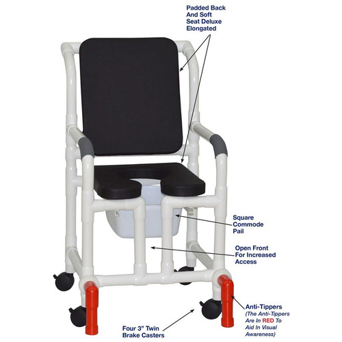 """MJM International - Shower Chair 18"""" - # 118-3-SSDE-CBP-BLK-OF-SQ-PAIL-AT"""