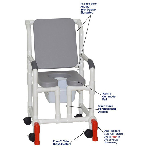 """MJM International - Shower Chair 18"""" - # 118-3-SSDE-CBP-GRY-OF-SQ-PAIL-AT"""