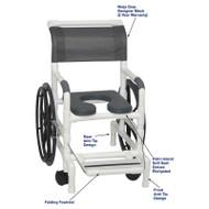 "MJM International - Self-Propelled Aquatic/Rehab Chair 18"" - # 131-18-24W-PI-NJGRY-DM"