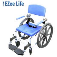 "Healthline - EZee Life 18"" 4-Way Seat Aluminum Shower Commode Chair W/24"" Wheels (Non-Tilt) - 180-4W-24"