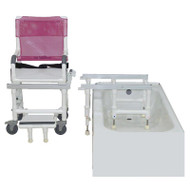 MJM Intl - Dual Shower/Transferchair W/Flat Stock Seat, 300 lbs Weight Cap. - D118-5-F-SLIDE - Step One