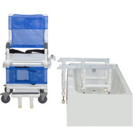 MJM Intl - Dual Shower/Transferchair W/Flat Stock Seat, 300 lbs Weight Cap. - D118-5-AF-SLIDE - Step One