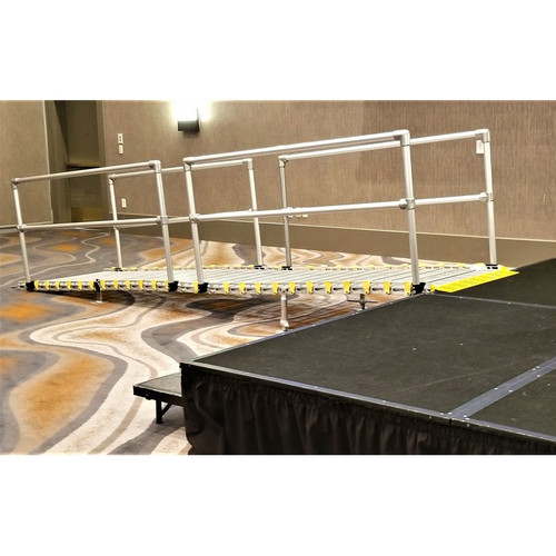 "Roll-A-Ramp - Portable Stage Ramp 36"" x 8' - 2 Handrails"